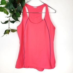 Under Armour Hot Pink & Navy Pipeing Workout Tank